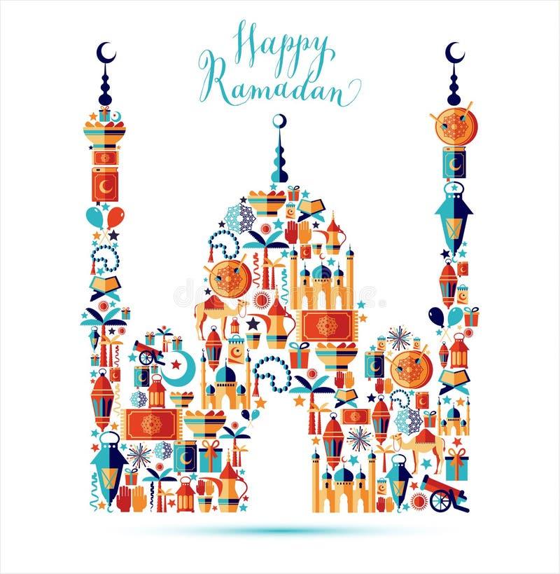 Gelukkige geplaatste Ramadanpictogrammen royalty-vrije illustratie