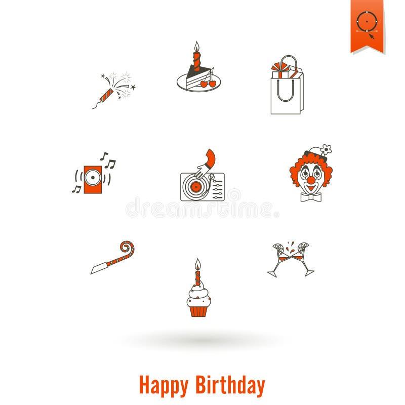 Gelukkige geplaatste Verjaardagspictogrammen vector illustratie