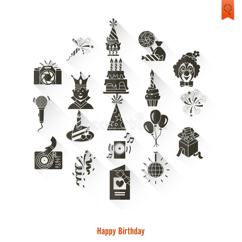 Gelukkige geplaatste Verjaardagspictogrammen royalty-vrije illustratie