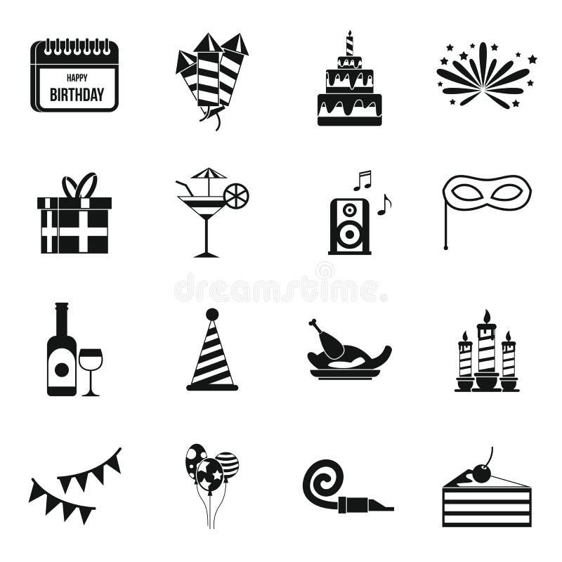 Gelukkige geplaatste Verjaardagspictogrammen, eenvoudige stijl royalty-vrije illustratie