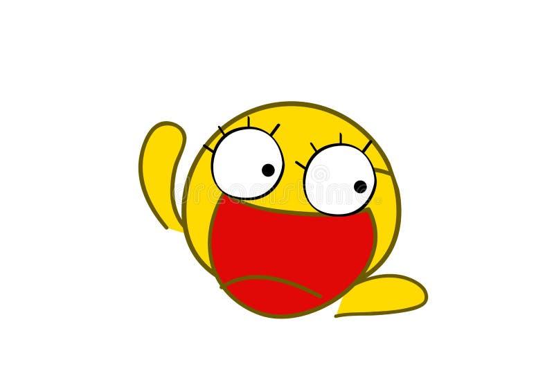 Gelukkige gezicht het glimlachen emoji met open mond Grappige glimlach vlakke stijl op witte achtergrond vector illustratie