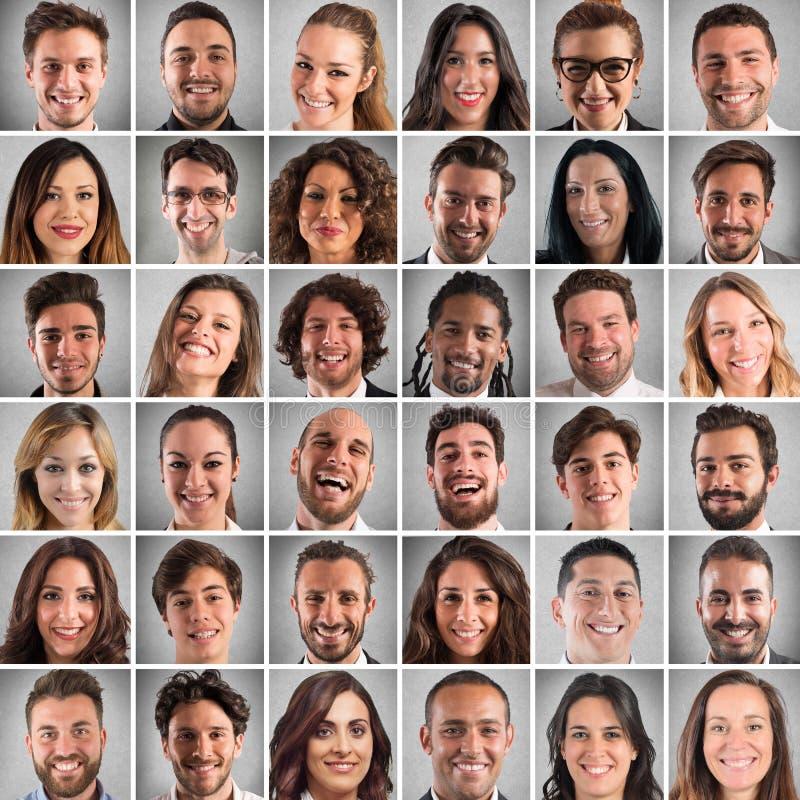 Gelukkige gezichtencollage royalty-vrije stock foto's