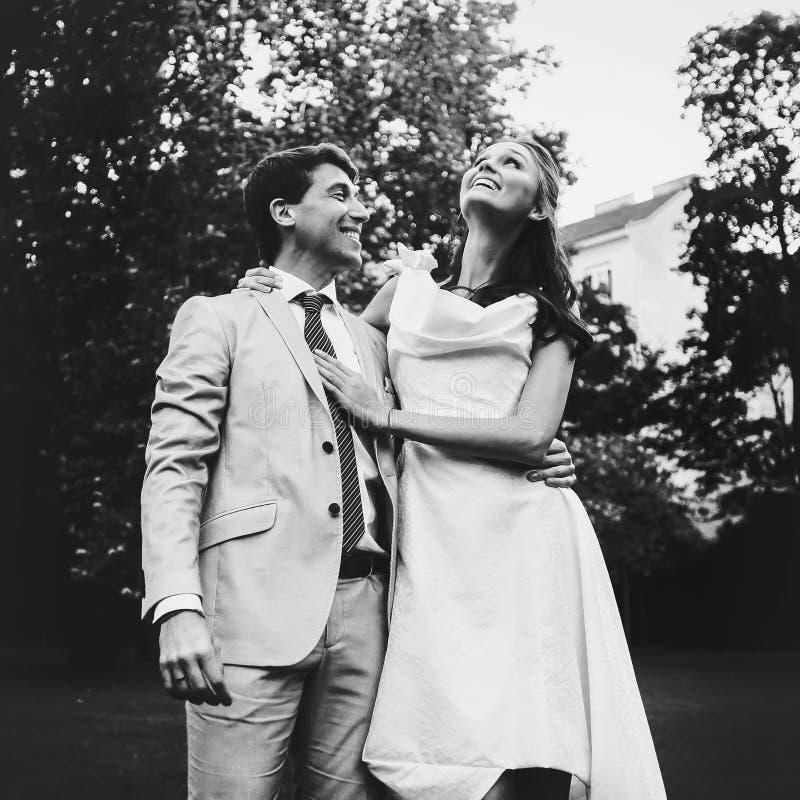 Gelukkige glimlachende bruid en bruidegom die op een zonnige dag koesteren stock afbeelding