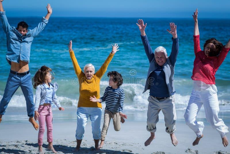 Gelukkige glimlachende familie die samen springen royalty-vrije stock afbeeldingen