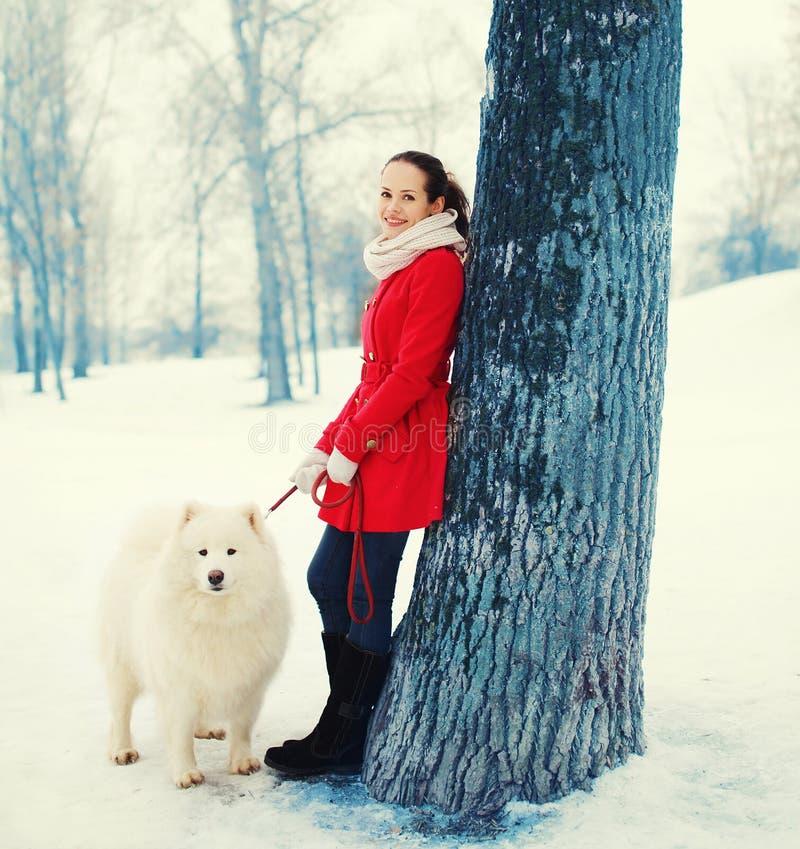 Gelukkige glimlachende jonge vrouweneigenaar die met witte Samoyed-hond in de winter lopen royalty-vrije stock afbeelding