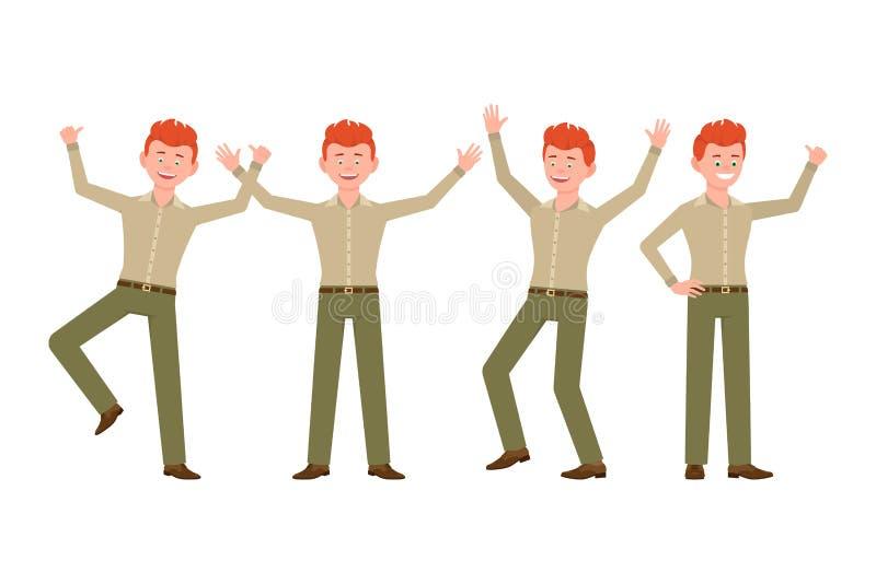 Gelukkige, glimlachende, knappe rode haar jonge mens in groene broek vectorillustratie Het springen, handen omhoog, hebbend het k royalty-vrije illustratie