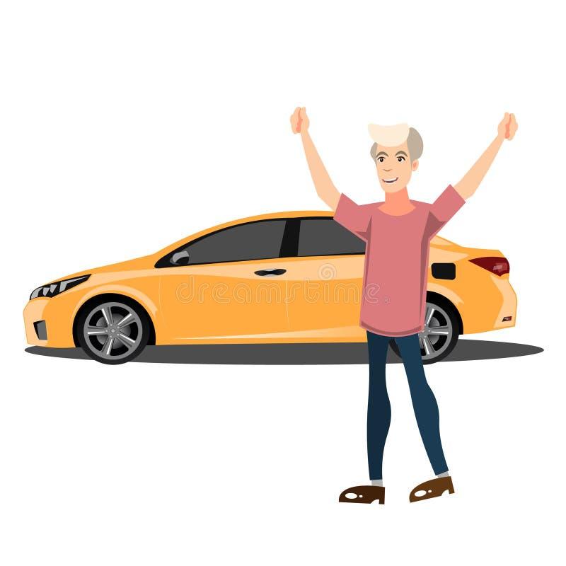 Gelukkige glimlachende mens met nieuwe auto royalty-vrije illustratie