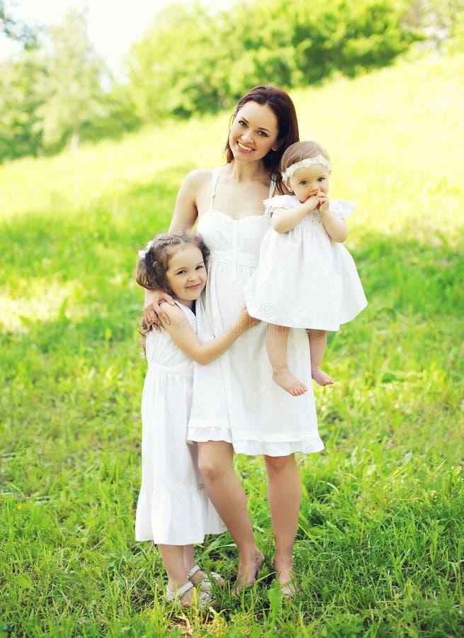 Gelukkige glimlachende moeder die twee kinderen in de zonnige zomer koesteren royalty-vrije stock foto