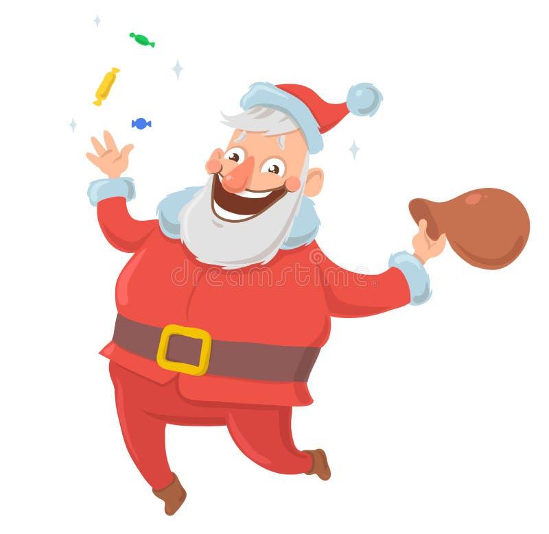Gelukkige glimlachende Santa Claus werpt suikergoed in de lucht en springt want de vreugde met zak van op witte achtergrond voors royalty-vrije illustratie
