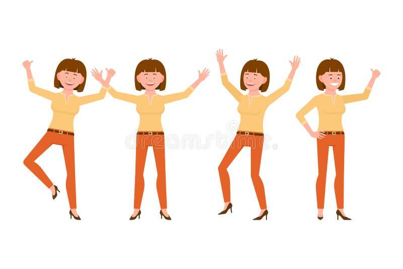Gelukkige, glimlachende, vrij bruine haar jonge vrouw in oranje broek vectorillustratie Het springen, handen omhoog, het karakter stock illustratie