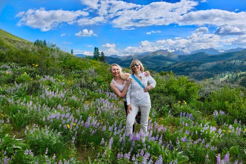 Gelukkige glimlachende vrouwen die in weiden onder wildflowers wandelen royalty-vrije stock fotografie
