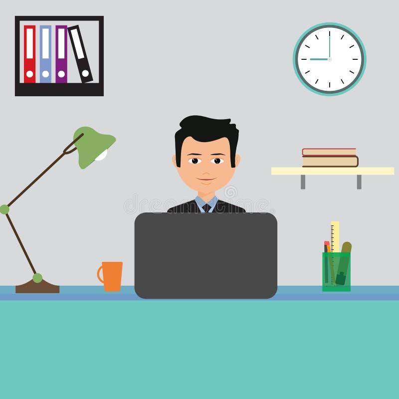 Gelukkige glimlachende zakenman die met laptop in het bureau werken Vector royalty-vrije illustratie