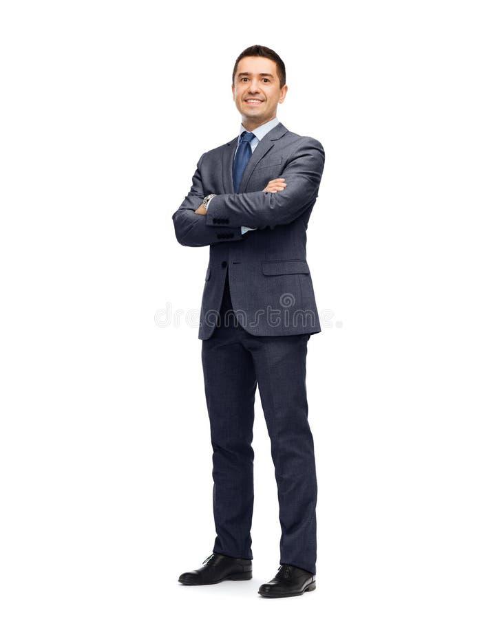 Gelukkige glimlachende zakenman in kostuum royalty-vrije stock afbeeldingen
