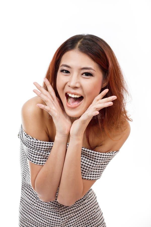 Gelukkige, glimlachende, zekere vrouw die positieve uitdrukking tonen stock afbeelding