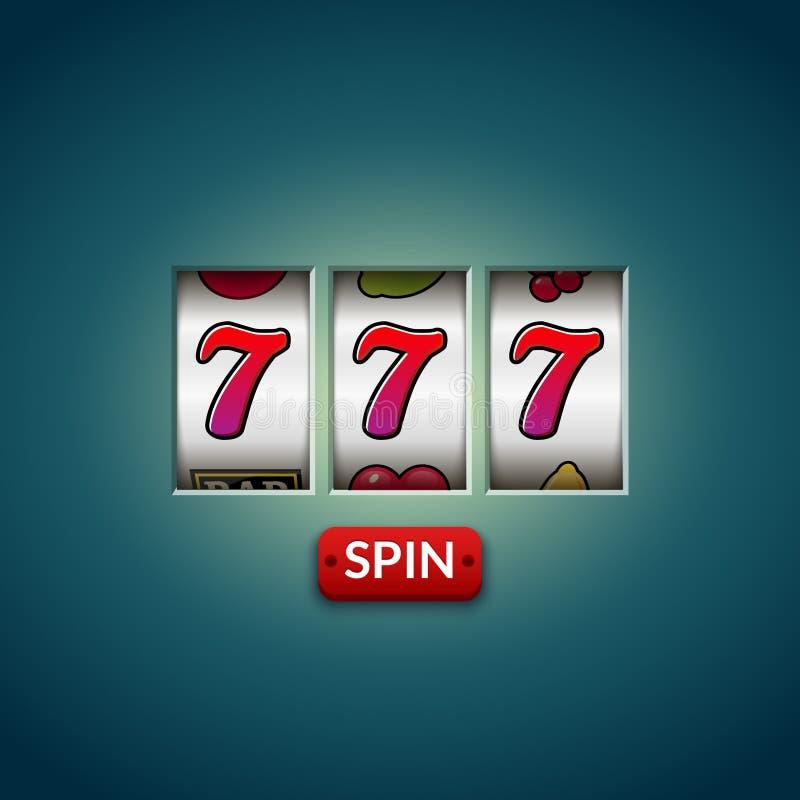 Gelukkige gokautomaat zeven 777 Het spel van casinovegas Het gokken fortuinkans Het geld van de winstpot royalty-vrije illustratie