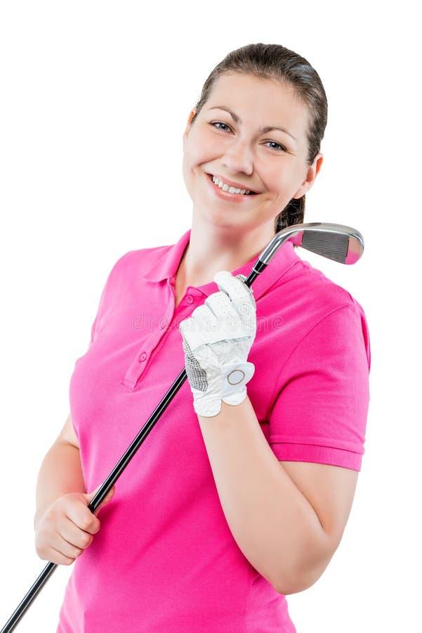 gelukkige golfspeler op een witte achtergrond die en een golf glimlachen houden royalty-vrije stock afbeelding