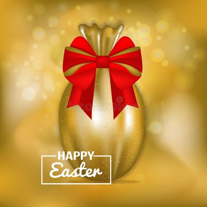 Gelukkige Gouden de Groetkaart van Pasen vector illustratie