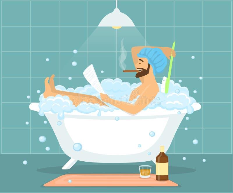 Gelukkige grappige mensenkerel die bad in bellen uitstekende badkuip nemen vector illustratie