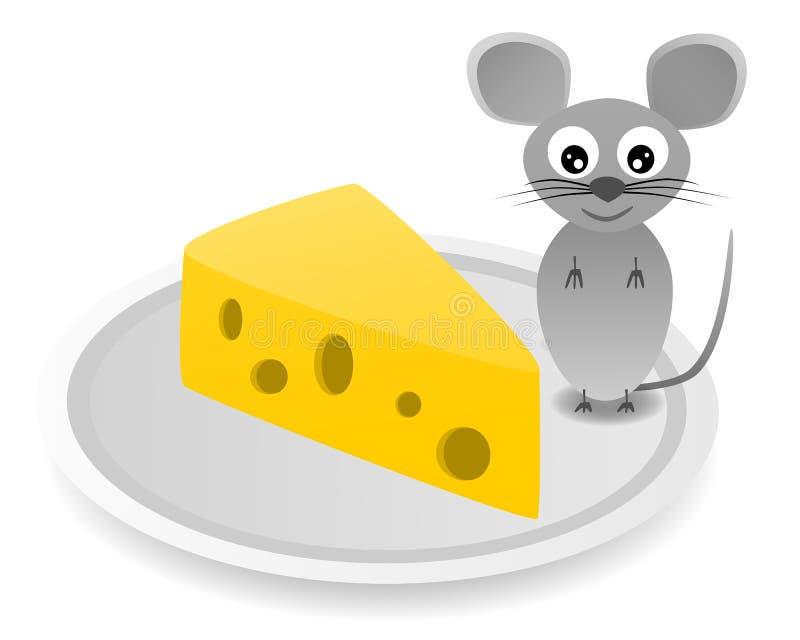 Gelukkige grijze muis op plaat met kaas op witte achtergrond royalty-vrije stock afbeeldingen