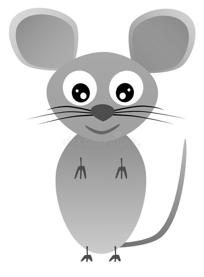 Gelukkige grijze muis op witte achtergrond - illustratie royalty-vrije stock afbeelding