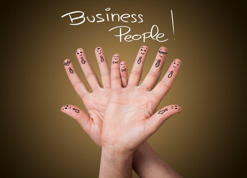 Groep gelukkige bedrijfsvinger smileys stock fotografie