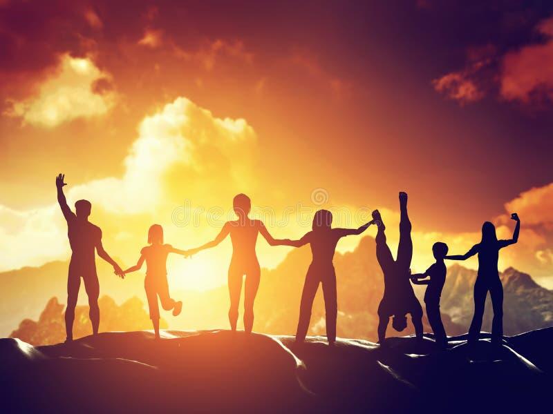 Gelukkige groep die mensen, vrienden, familie pret hebben samen stock afbeelding