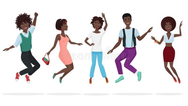 Gelukkige groep het Afrikaanse Amerikaanse groepswerkvrienden springen Van het de mensenkarakter van de beeldverhaalsprong de zwa royalty-vrije illustratie