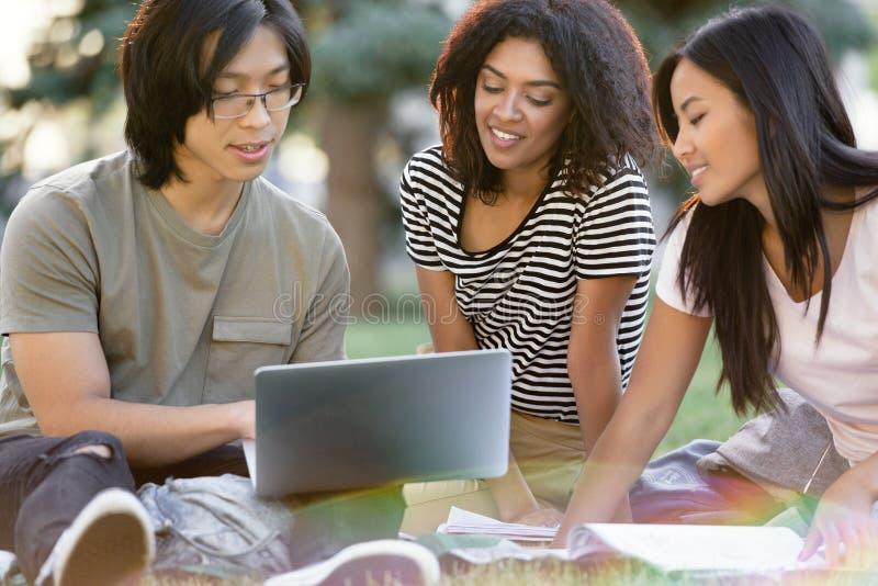 Gelukkige groep het multi-etnische studenten bestuderen stock foto's