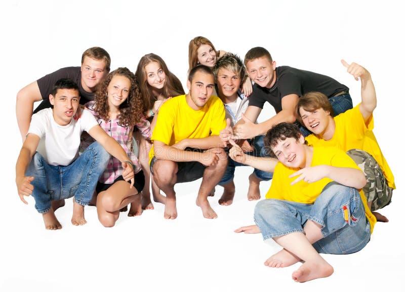 Gelukkige groep jonge mensen. stock foto