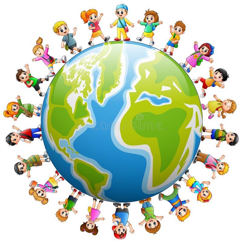 Gelukkige groep kinderen die zich rond de wereld bevinden royalty-vrije illustratie