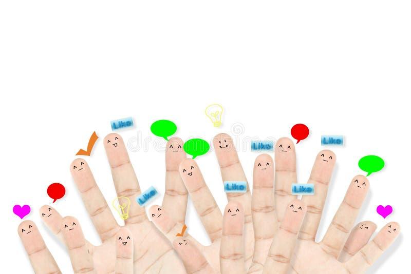 Gelukkige groep vingergezichten als sociaal netwerk royalty-vrije stock fotografie