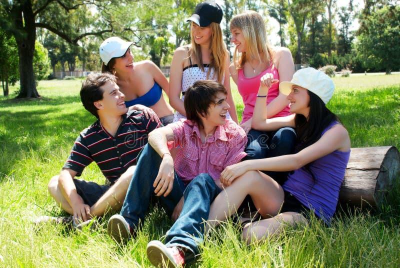 Gelukkige groep vrienden die in openlucht glimlachen stock afbeelding