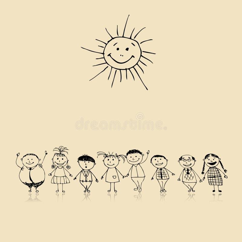 Gelukkige grote familie die, schets trekt samen glimlacht die royalty-vrije illustratie