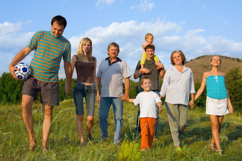 Gelukkige grote familie op de aard royalty-vrije stock afbeelding