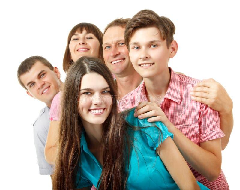 Gelukkige grote Kaukasische familie die pret en het glimlachen hebben royalty-vrije stock fotografie