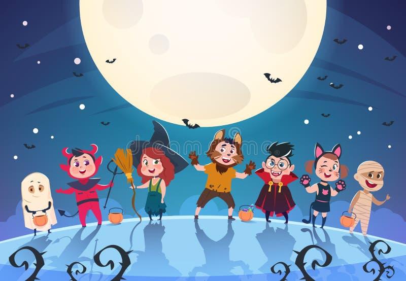 Gelukkige Halloween-achtergrond Monsters en jonge geitjes in kostuums Halloween-partijaffiche of uitnodigings vectormalplaatje stock illustratie