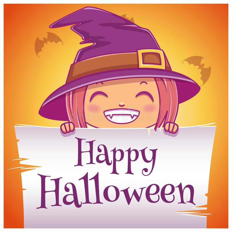 Gelukkige Halloween-affiche met meisje in kostuum van heks met perkament op oranje achtergrond Gelukkige Halloween-partij royalty-vrije illustratie