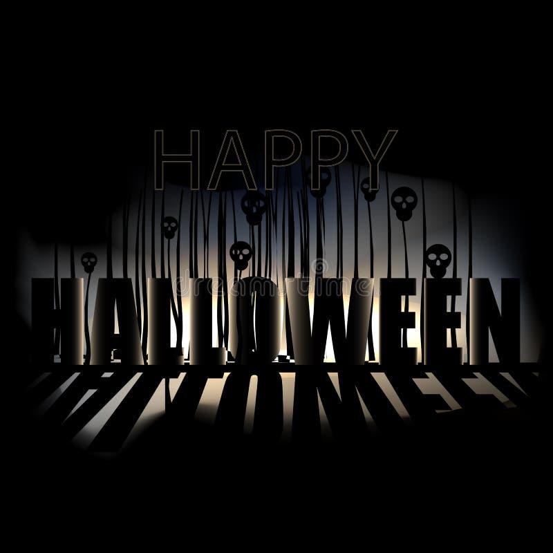 Gelukkige Halloween-Affiche met schedels royalty-vrije stock afbeeldingen
