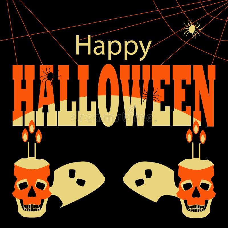 Gelukkige Halloween-Affiche met schedels en spinnen stock foto