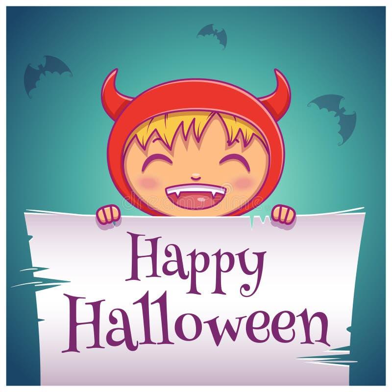 Gelukkige Halloween-affiche met weinig jong geitje in kostuum van duivel met perkament op donkerblauwe achtergrond Gelukkige Hall stock illustratie