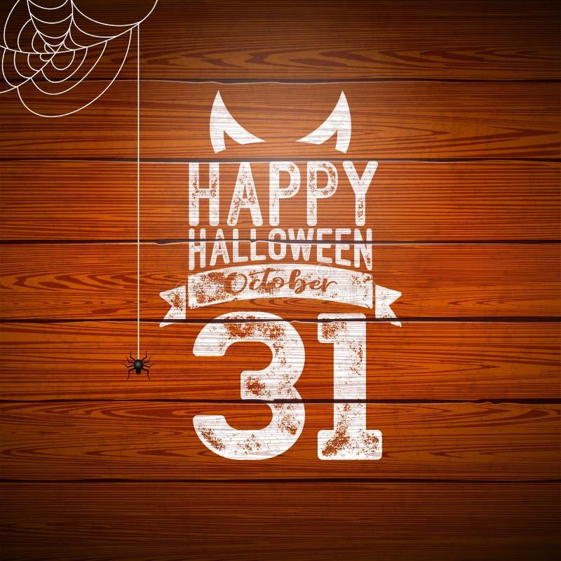 Gelukkige Halloween-bannerillustratie met vliegende knuppels, begraafplaats en spin op uitstekende houten achtergrond Vectorvakan vector illustratie