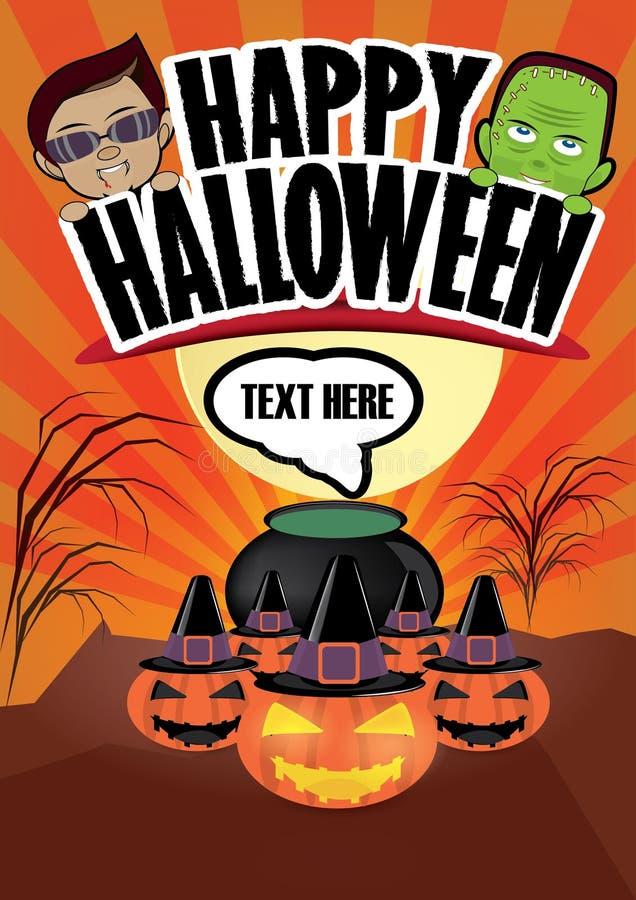 Gelukkige Halloween-beeldverhaalaffiche stock afbeeldingen