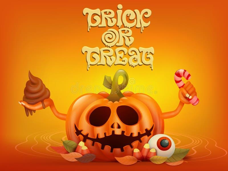 Gelukkige Halloween-conceptenkaart met pompoen De truc of behandelt titel vector illustratie