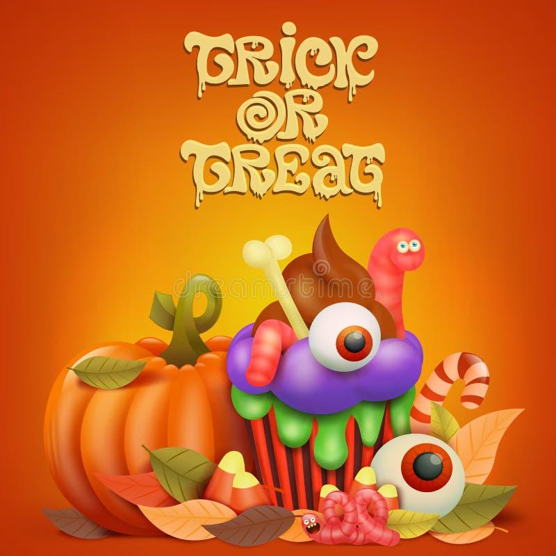 Gelukkige Halloween-conceptenkaart met pompoen en cupcake stock illustratie