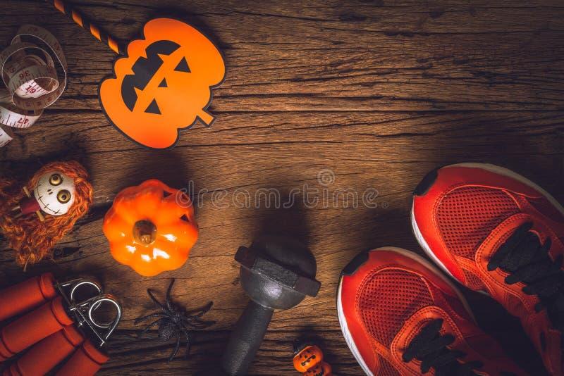 Gelukkige Halloween-dag met Geschiktheid, Oefening, gezond Uitwerken stock fotografie