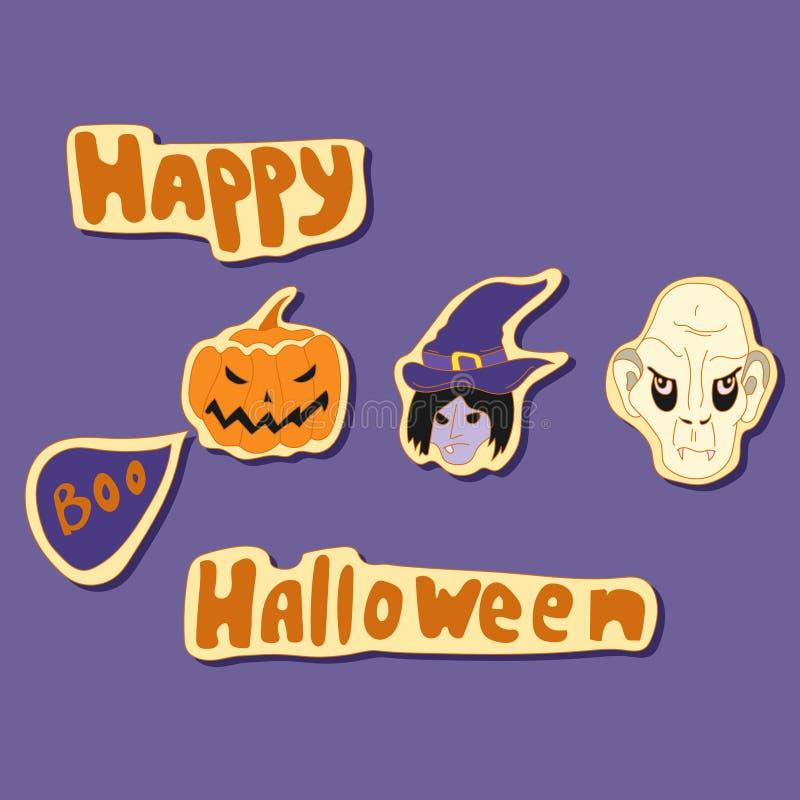 Gelukkige Halloween-elementen vectorreeks stock illustratie