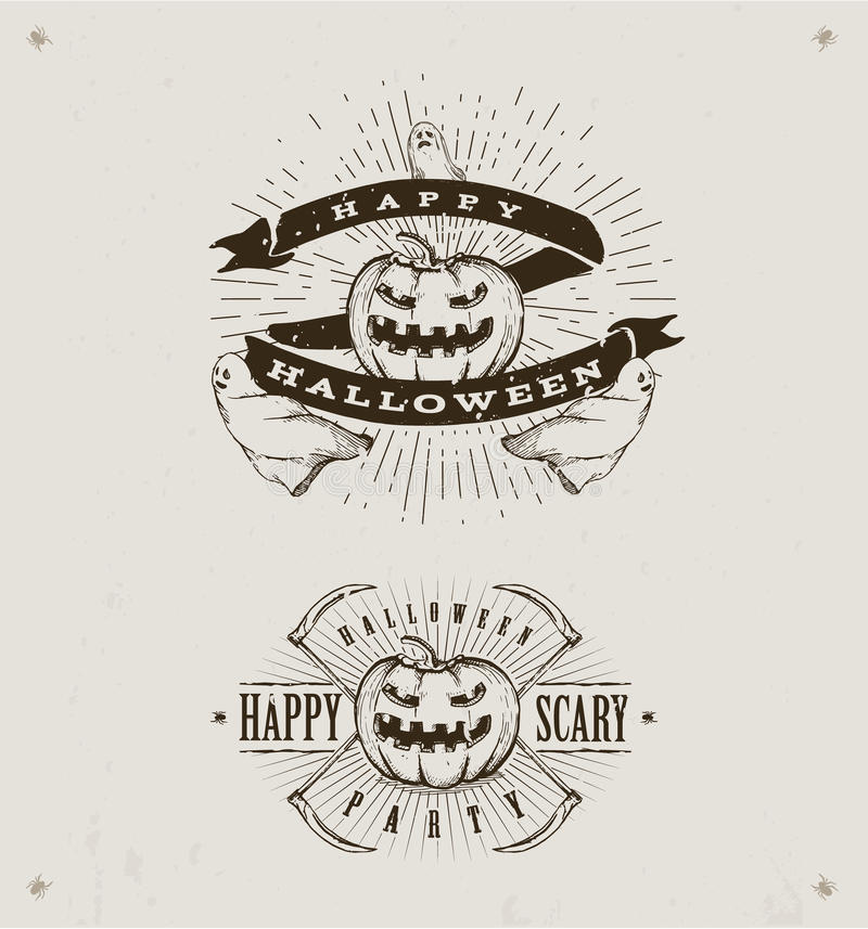 Gelukkige Halloween-emblemen royalty-vrije illustratie