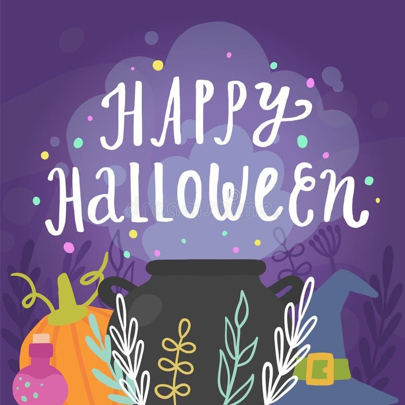 Gelukkige Halloween-Groetkaart royalty-vrije illustratie