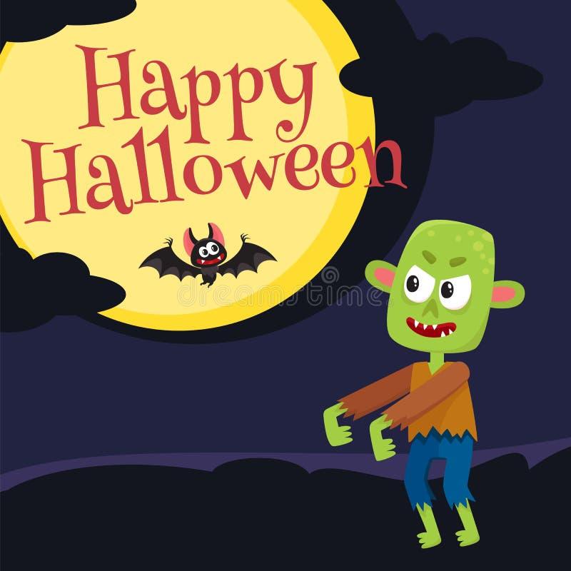 Gelukkige Halloween-groetkaart, affiche, bannerontwerp met kokende ketel royalty-vrije illustratie