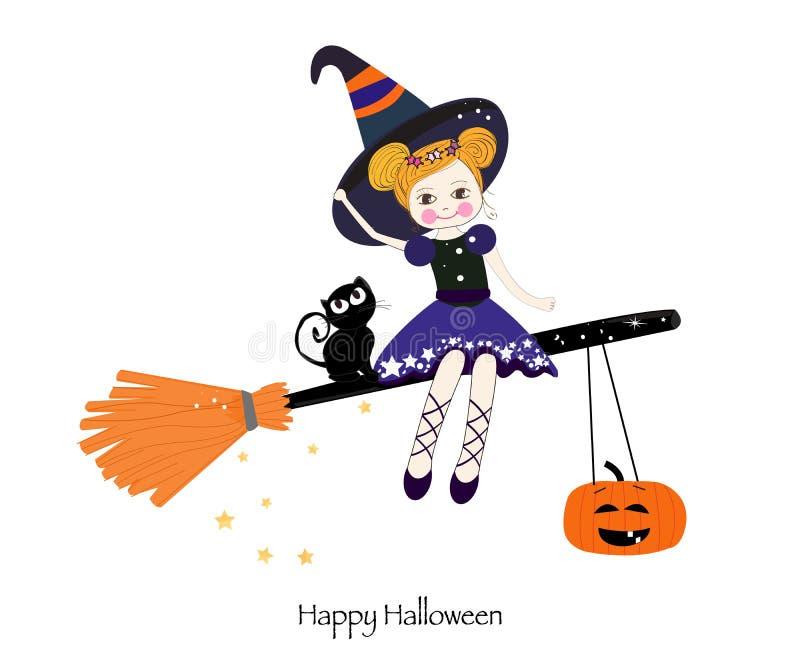Gelukkige Halloween-Groetkaart Leuke meisje en katten die op de pompoen zitten royalty-vrije illustratie